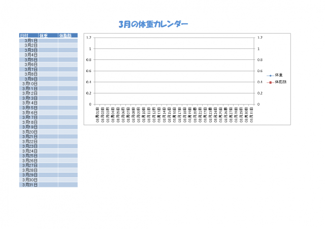 体重カレンダー