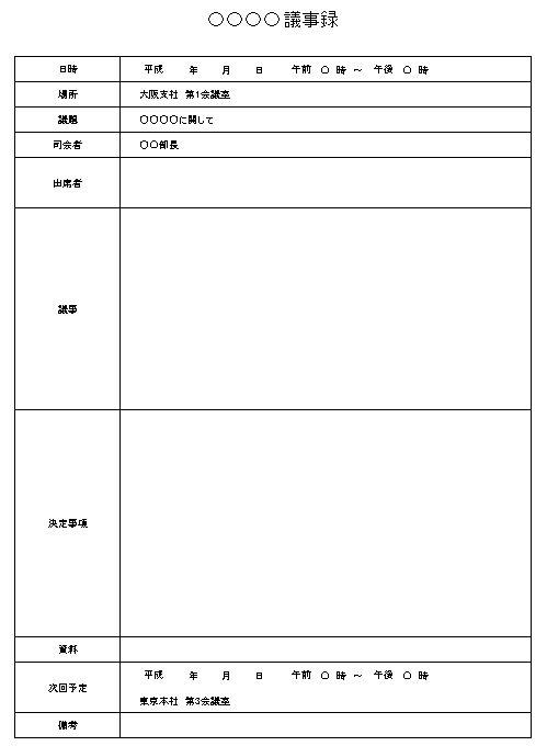 録 フォーマット 議事 議事録の書き方は?書き方のコツや例文をわかりやすく紹介