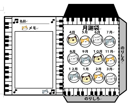 月謝袋(ネコと鍵…